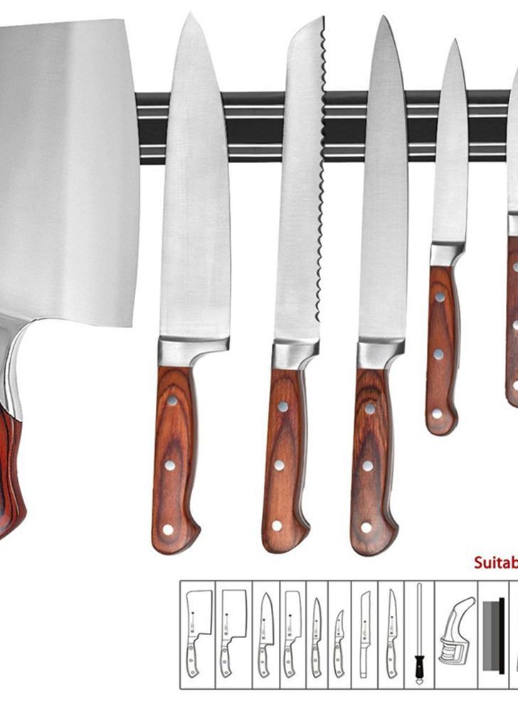 Titular de la herramienta de cocina Titulares de almacenamiento de cuchara Barra de tira magnética Juego de pared de utensilios de metal Cocina Chef Rack Display Organizador