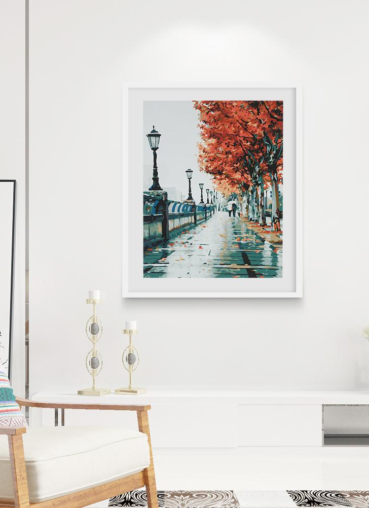 Frameless DIY Digital Oil Painting 16 * 20'' Autumn Scenery Hand-Painted Cotton Canvas Paint By Number Kit Home Office Wall Art Paintings Decor
