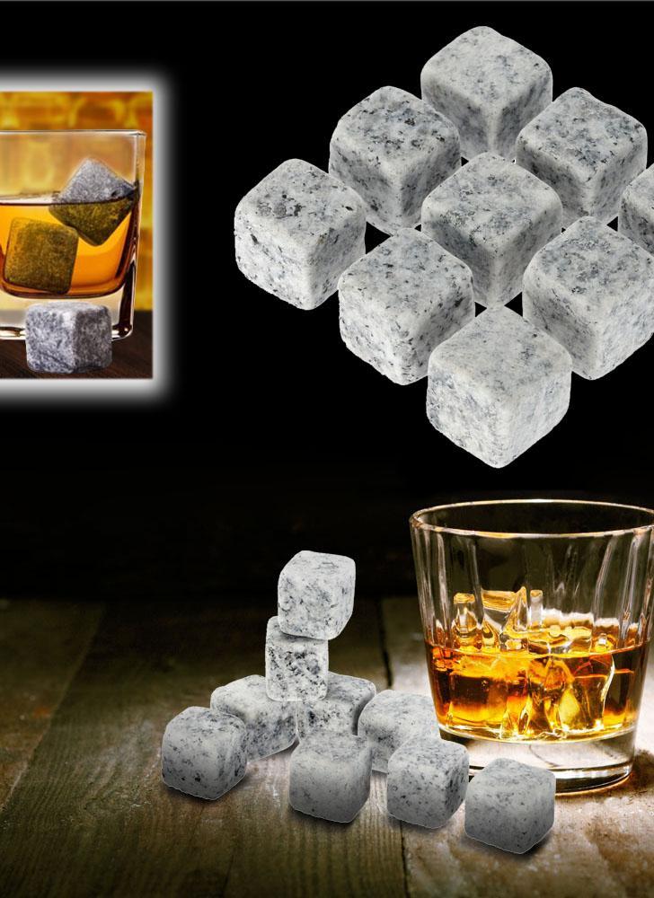 9pcs 18mm Whisky hielo piedras bebidas refrigerador cubos cerveza rocas de granito con bolsa