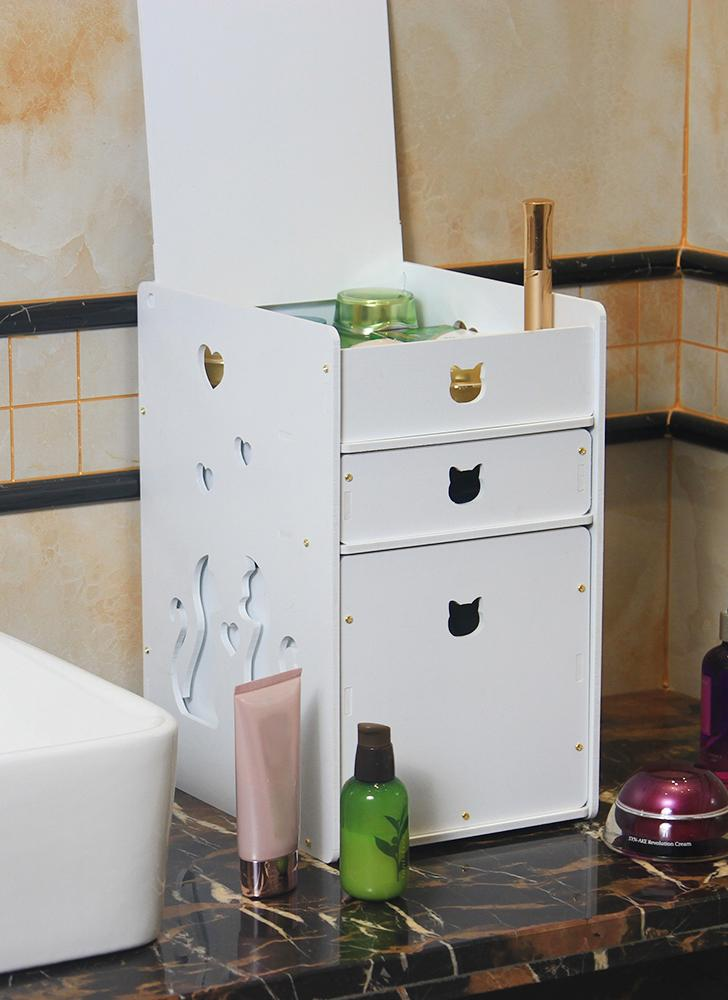 DIY White Desktop 3-Drawers Makeup Organizer Jewelry Storage Box Cosmetic Holder with Acrylic Mirror