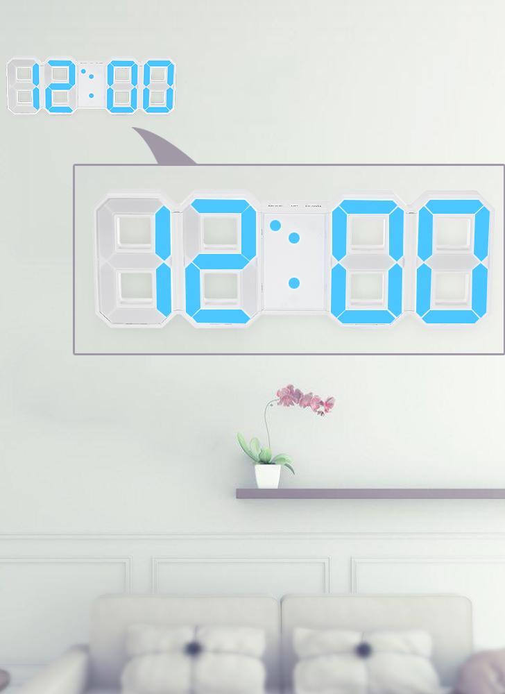 8-Shape Grand Digital LED Réveil USB Opération Bleu / Blanc Lumière 12H / 24H Affichage Réglable LED Luminance Snooze Fonction Horloge Murale Bureau Alarme