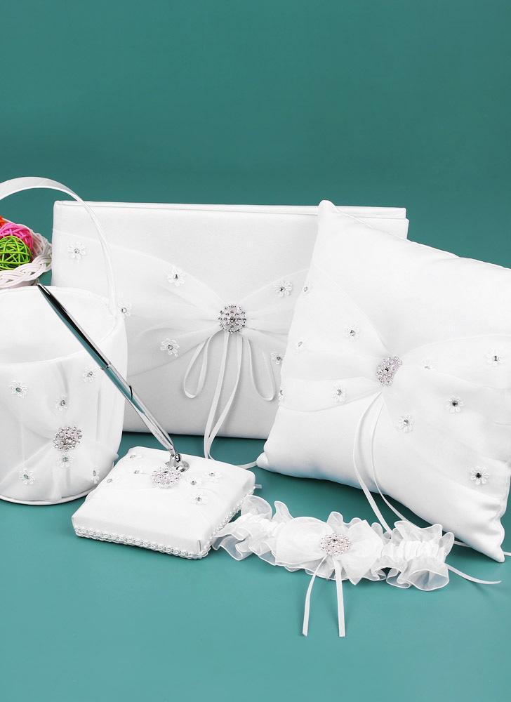 5pcs/set White Wedding Supplies Satin Flower Girl Basket + Ring Bearer Pillow + Guest Book + Pen Holder + Bride Garter Set