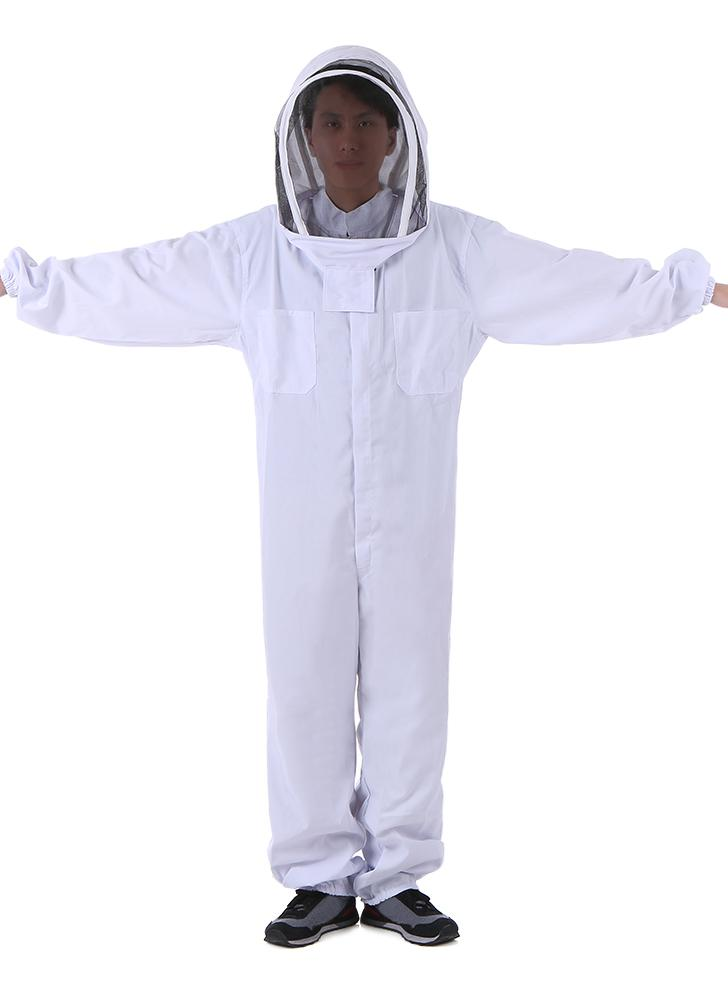 Beekeeping Protective Equipment White Beekeeping Suit with Removable Round Clear View Fencing Veil Beekeeping Full Body Suit Hat Smock XX-Large