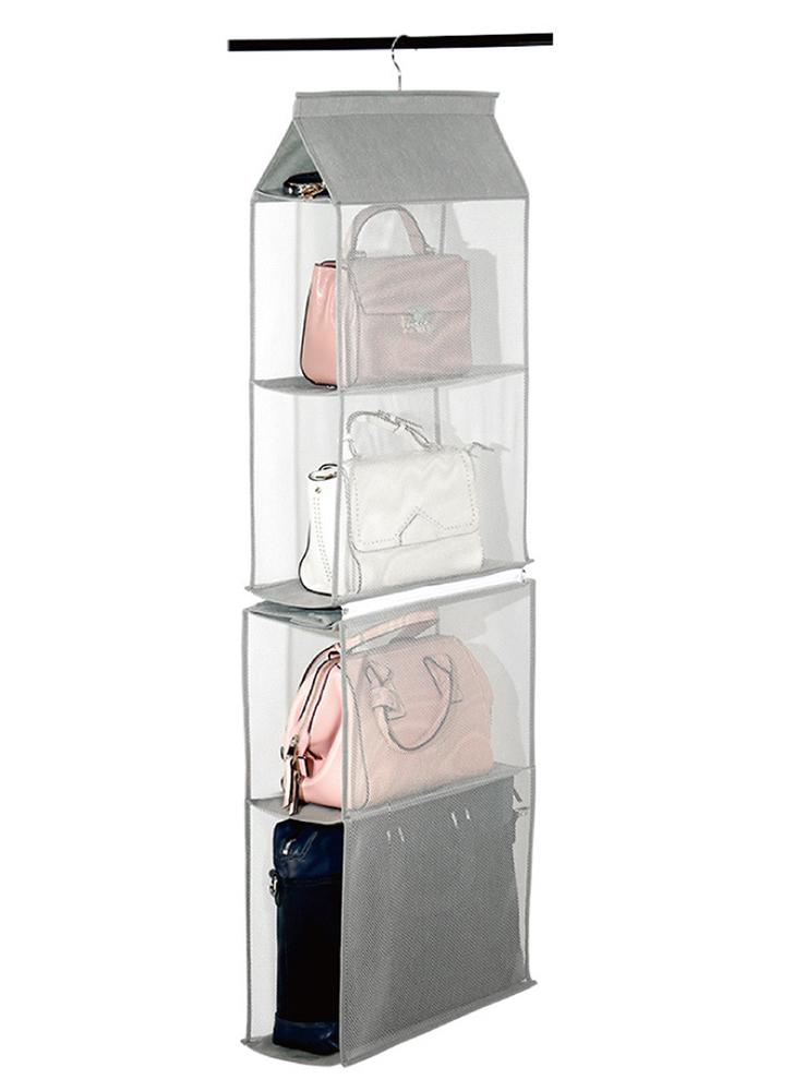 4 Tiers Non Woven Detachable Closet Bags Organizer Handbags Hanging Shelf Collapsible Clothing Accessories