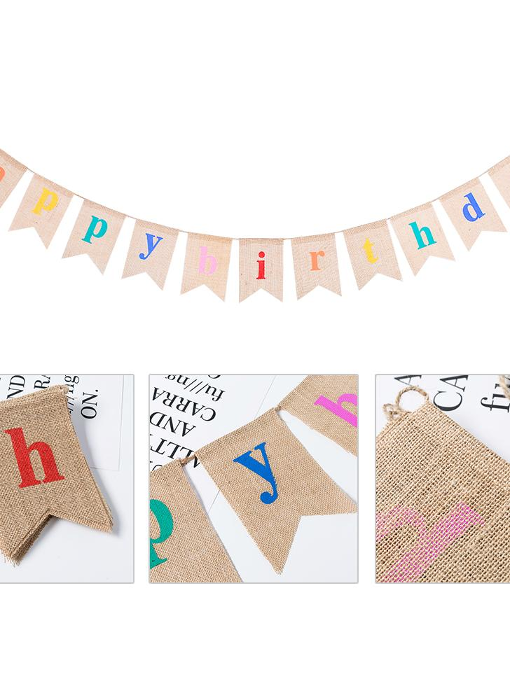 Esonmus Colorful Burlap Happy Birthday Flags Banner Birthday Party Decorations Supplies