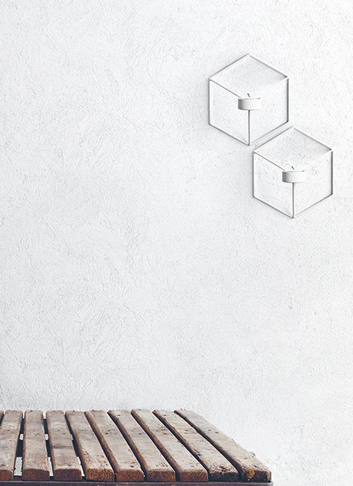 Art 3D Geometric Candlestick Metal Wall Candle Holder Living