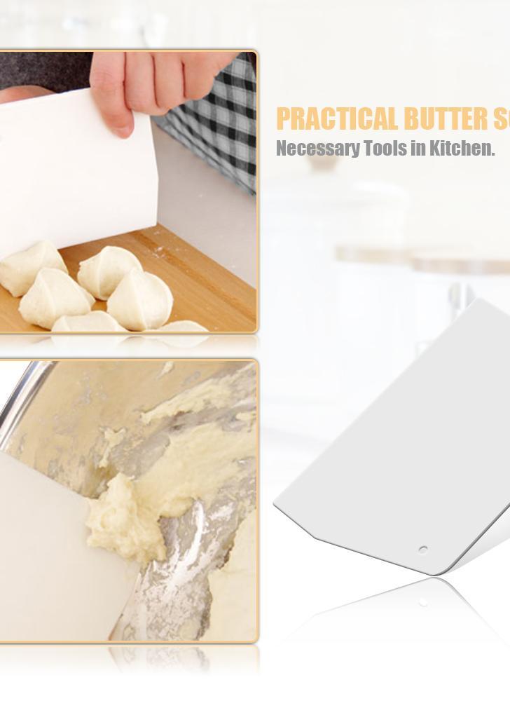 Cocina para Hornear Raspador de Mantequilla de Plástico Blanco Torta trapezoidal Pastelería Espátulas Raspadora de Masa Herramienta de Torta