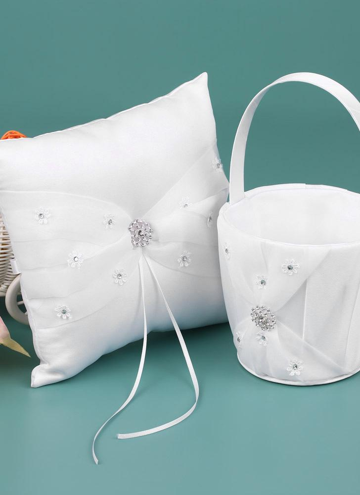 7 * 7 pollici White Satin Rhinestone decorato Ring Bearer Pillow e Wedding Flower Girl Basket Set