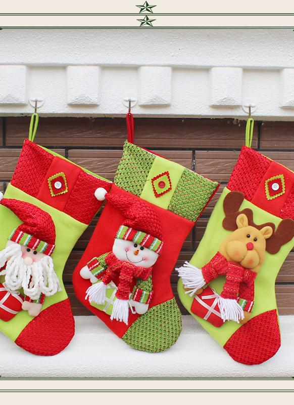 3pcs Santa Claus Snowman Reindeer  Christmas Hanging Ornaments Festival Decoration Stockings