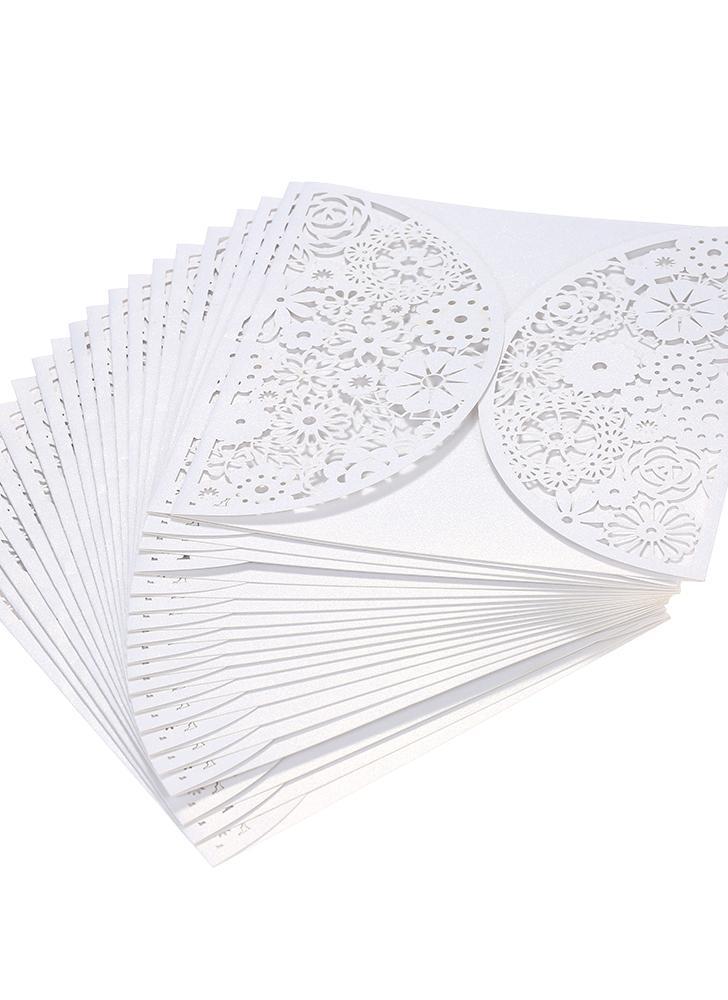 20 unids / set Blanco Tarjetas de Invitación de Boda Kit de Papel de Perlas Laser Cut Hollow Tarjetas de Invitación para la Boda Fiesta de Cumpleaños Aniversario