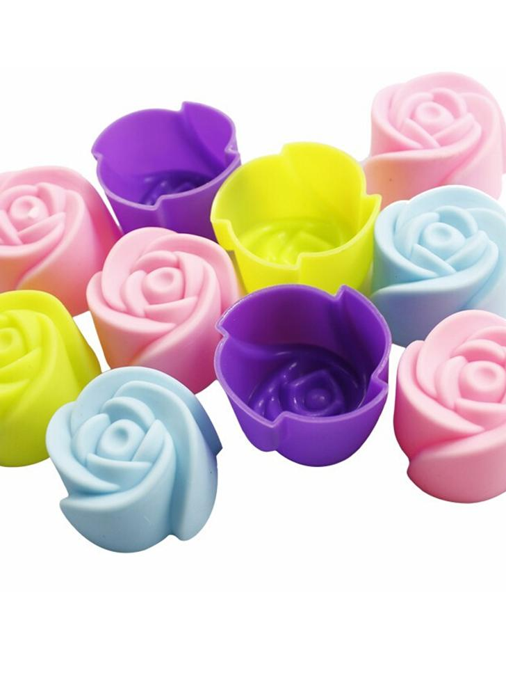 10Pcs Silicone Cake Mold Rose Shaped Chocolate Mold Baking Tool Jelly and Candy Mold Tray Soap