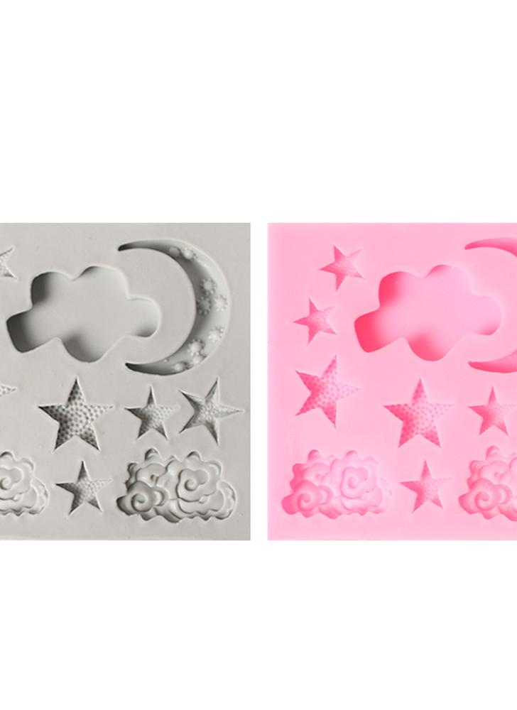 1 Pcs Cake Molds Moon Stars Clouds Silicone Mold for Fondant Decorating Chocolate Cookie Soap Mould