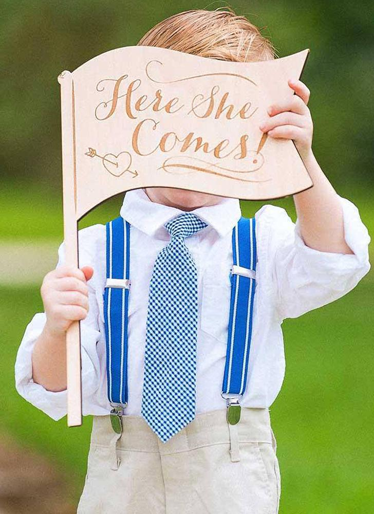 Rustic Wood Wedding Guiding Sign Page Boy Wooden Guide Card for Bride and Groom Party Supplies