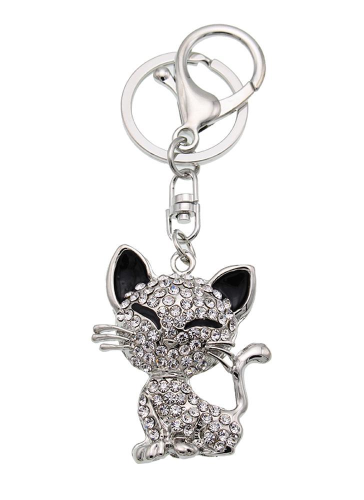 Animal Style Alloy Crystal Rhinestone Key Chain Hollow Shining Key Ring with Clip Hook Handbag Purse Car Pendant Ornament Decor--Cat