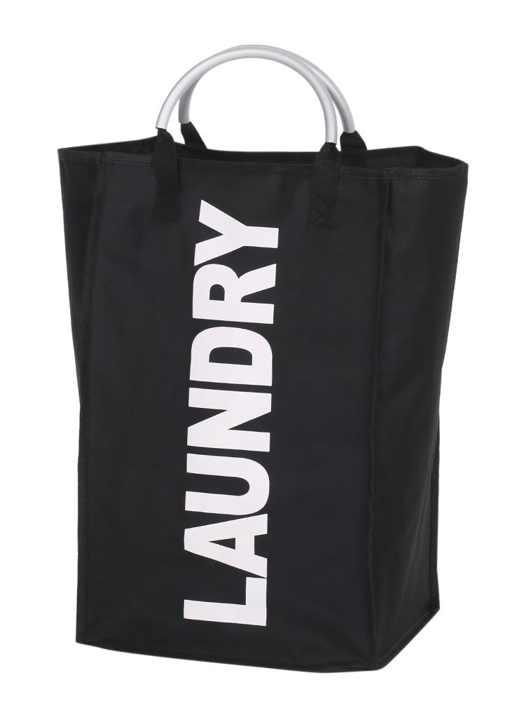 Practical Foldable Laundry Bag Washing Dirty Clothes Laundry Basket Durable Storage Bag with Alloy Handle--Black
