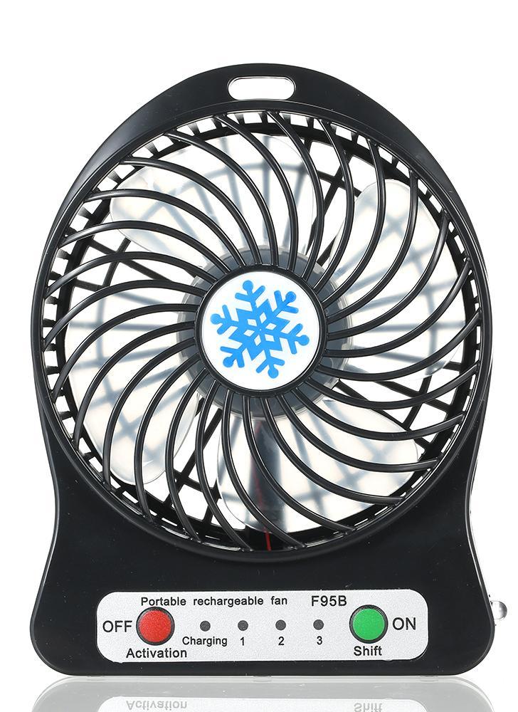 Portátil Recarregável LEVOU Luz de Ventilador Mini Mesa de Carregamento USB Air Cooler 3 Modo de Regulação de Velocidade de Iluminação LED função de Refrigeração (preto)