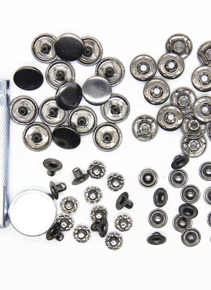 15mm 15pcs un set di bottoni automatici in metallo con strumento di installazione per dispositivi di fissaggio per bambini e vestiti per adulti e pelle