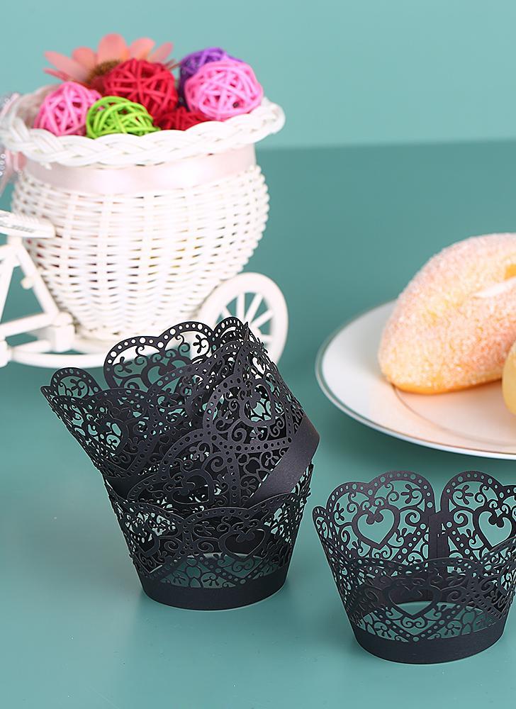 50 pçs / set Papel Cupcake Wrappers Laser Cut Lace Cake Forro Bandejas Bandejas de Cozimento Decorações Suprimentos - Preto