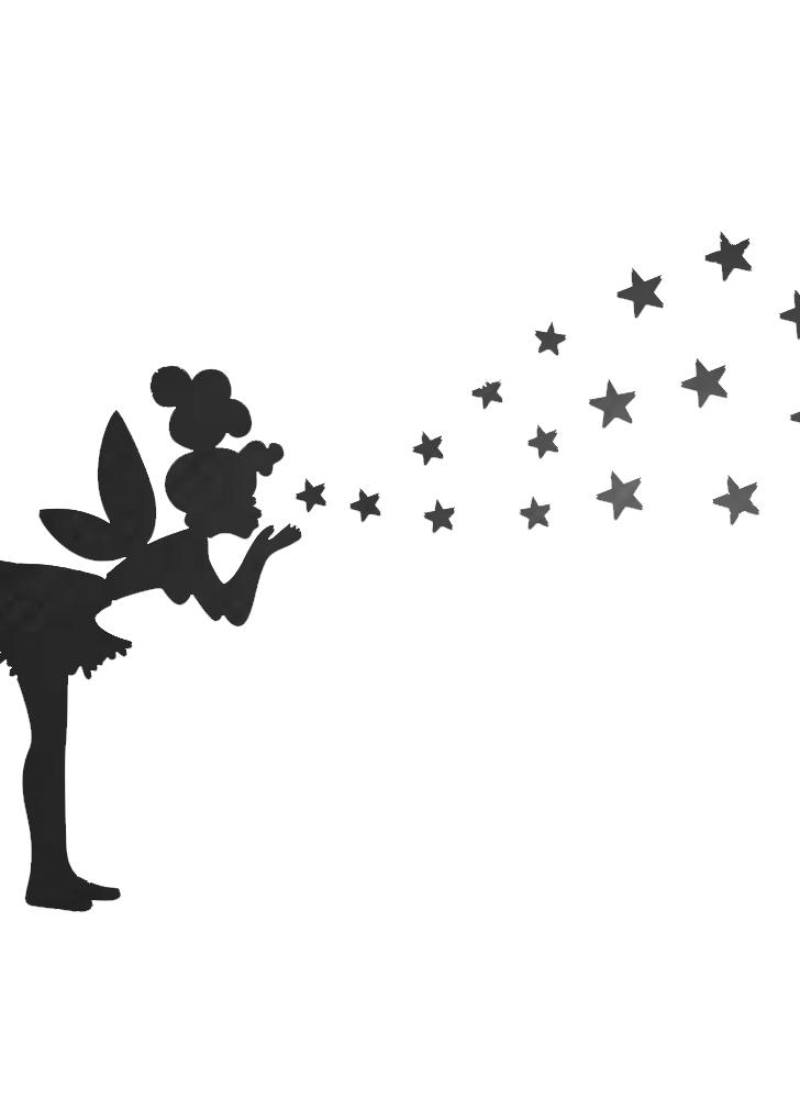 Зеркальная стикер стены гостиной Спальня украшения наклейки Маленькая девочка, чтобы выбить звезды