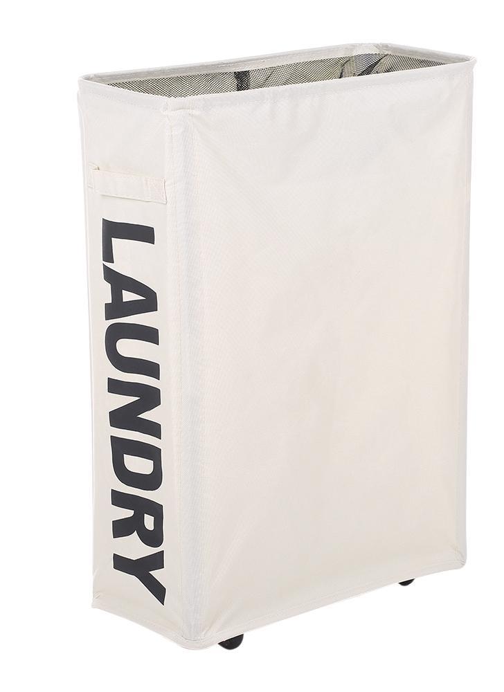 Esquinera plegable plegable de tela Oxford Cesto de la ropa sucia Cesto de malla Ropa sucia Cesto con 4 varillas de soporte Ruedas universales - Beige