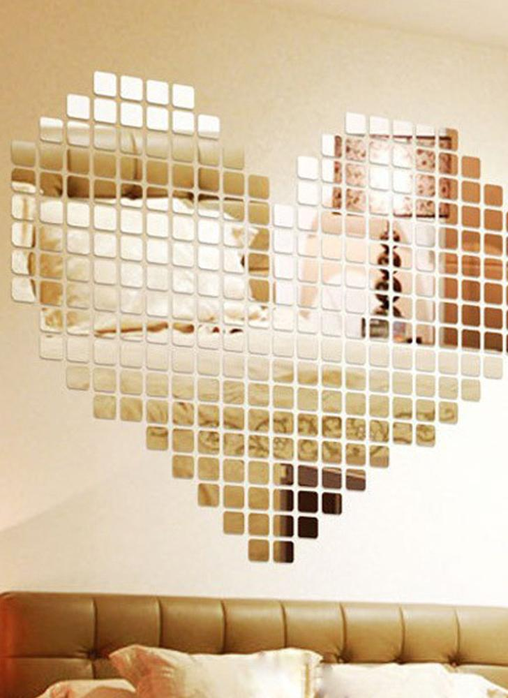gold DIY Acrylic Square Solid Mirror Wall Sticker Bathroom Porch ...