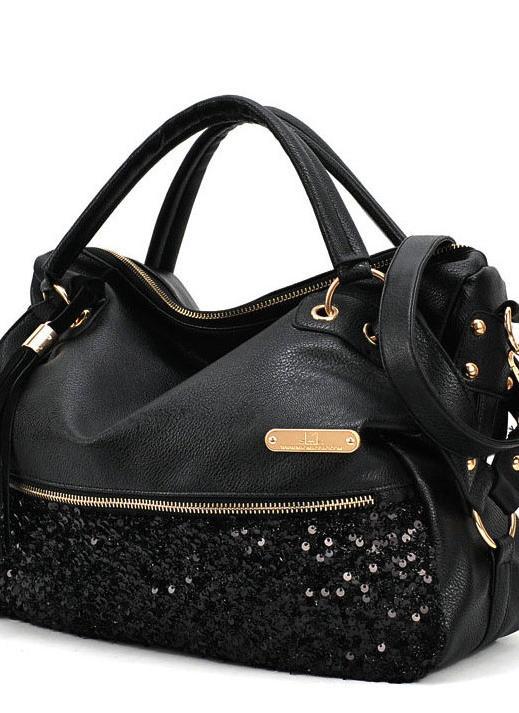 Moda mulheres leopardo Sequin Paillette Bag Bolsa Tote PU mensageiro saco de ombro