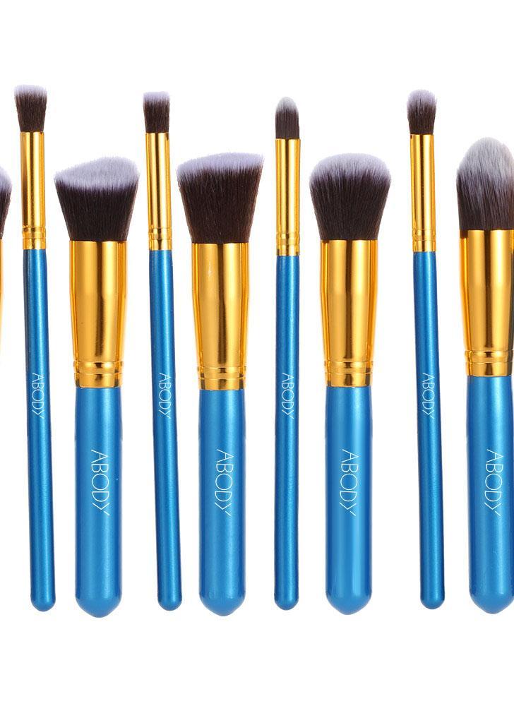 10Pcs legno trucco pennello professionale Kit cosmetico imposta dorata puntalino blu