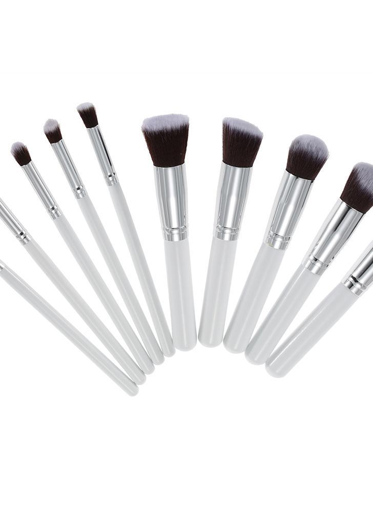 white Wood 10Pcs Makeup Brush Kit Professional Cosmetic Set White ...