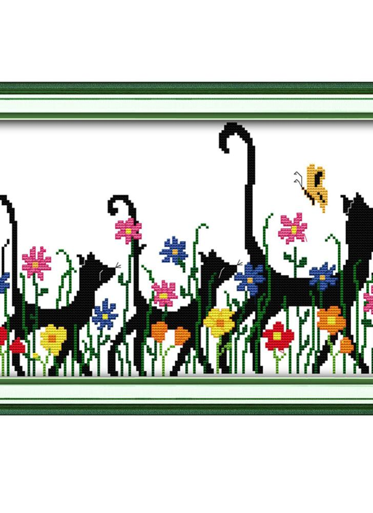 DIY Handmade Needlework Counted Cross Stitch Set Embroidery Kit 14CT Three Animals Pattern Cross-Stitching 41 * 28cm Home Decoration