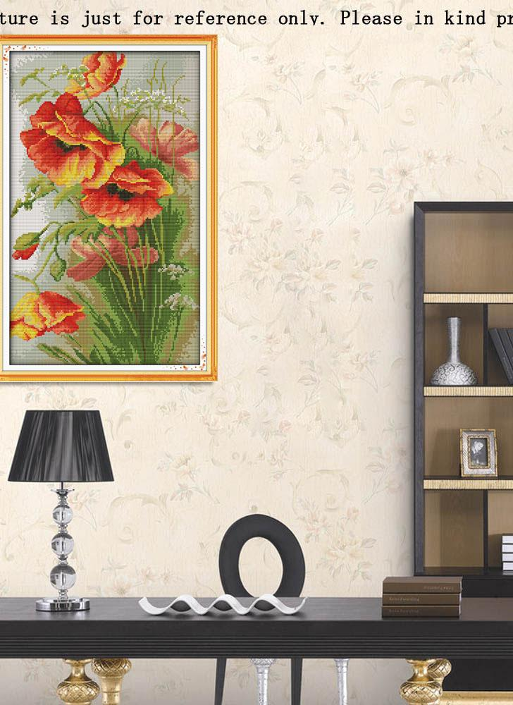 DIY Handmade Needlework Counted Cross Stitch Set Embroidery Kit 14CT Poppy Flowers Pattern Cross-Stitching 35 * 52cm Home Decoration