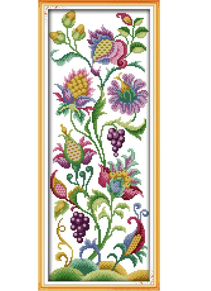 DIY Handmade Needlework Counted Cross Stitch Set Embroidery Kit 14CT Beautiful Flowers Pattern Cross-Stitching 21 * 50cm Home Decoration
