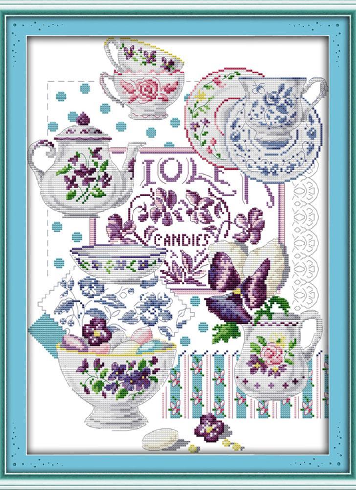 DIY Handarbeit Handarbeiten gezählt Kreuzstich Set Stickerei Kit 14CT Teetassen Muster Cross-Stitching 37 * 47cm Wohnaccessoires