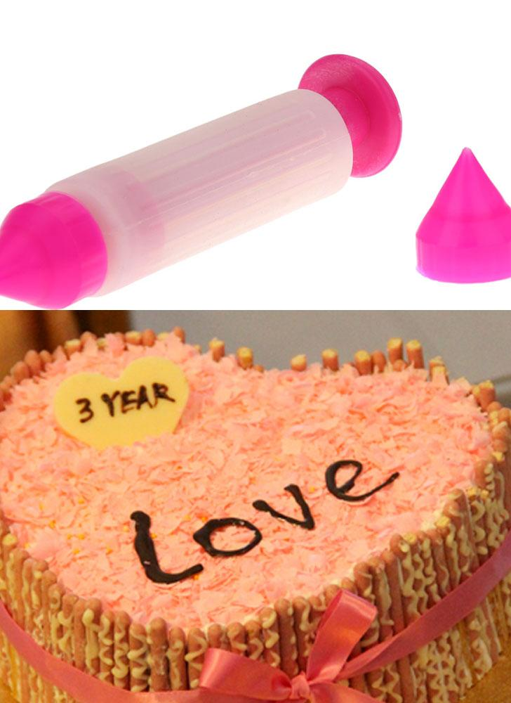 Silicone Cake Syringe Pen Biscuit Cookie Pastry Cream Icing Decoration Tool Two Nozzles