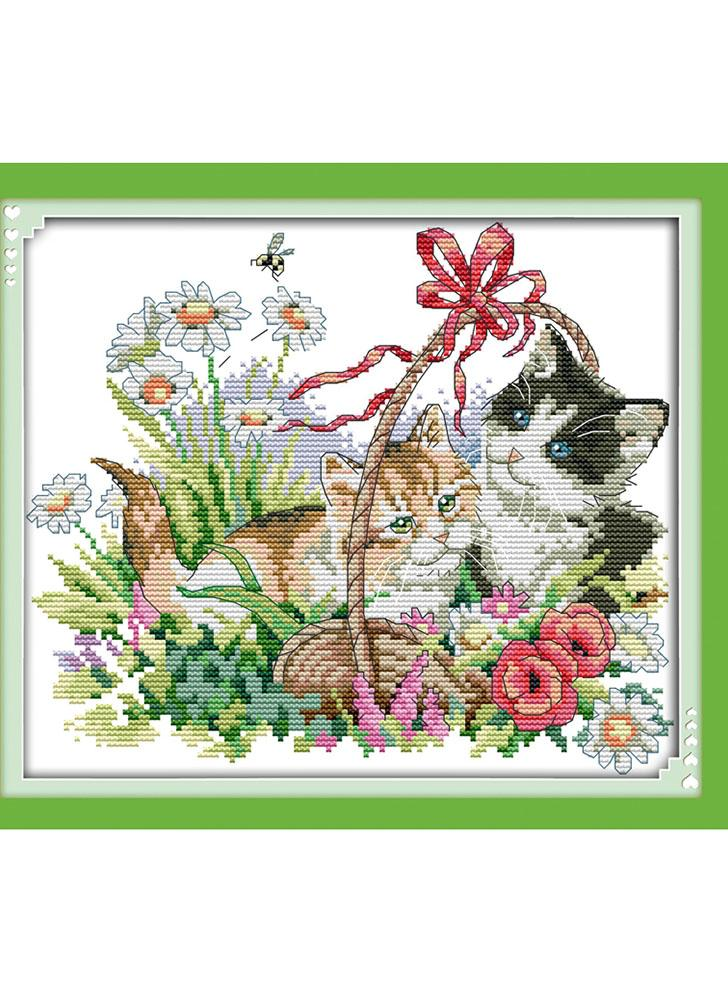 Fai da te a mano ricamo Cross Stitch ricamo Set Kit preciso stampato Lovely Cats modello punto croce decorazione domestica 38 * 34cm