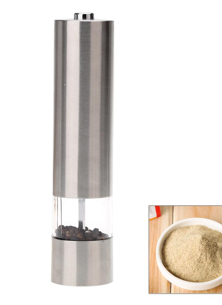 Stainless Steel Portable Electric Pepper Grinder Muller Mill with Light Kitchen Seasoning Grinding Tool