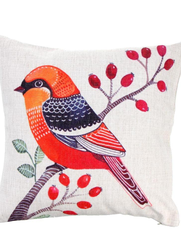 Simple Rural Style Bird Cotton and Linen Pillowcase Back Cushion Cover Throw Pillow Case for Bed Sofa Car Home Decorative Decor 45 * 45cm