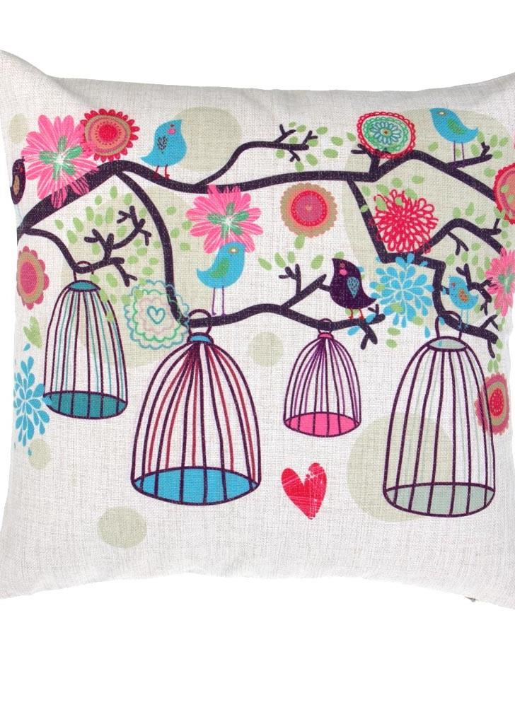 Frischen Landhausstil Bäume Birdcage Baumwolle und Leinen Kissenbezug zurück Kissen Throw Kissen Hülle für Bett Sofa Auto dekorative Hauptdekor 45 * 45cm