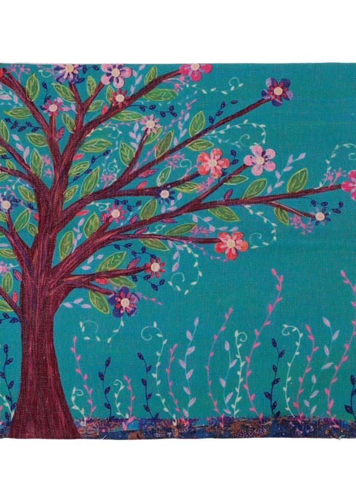 Style rural fleur arbre coton et lin, taie d'oreiller retour coussin couverture Throw taie d'oreiller pour lit canapé voiture décoratifs décoration 45 * 45cm