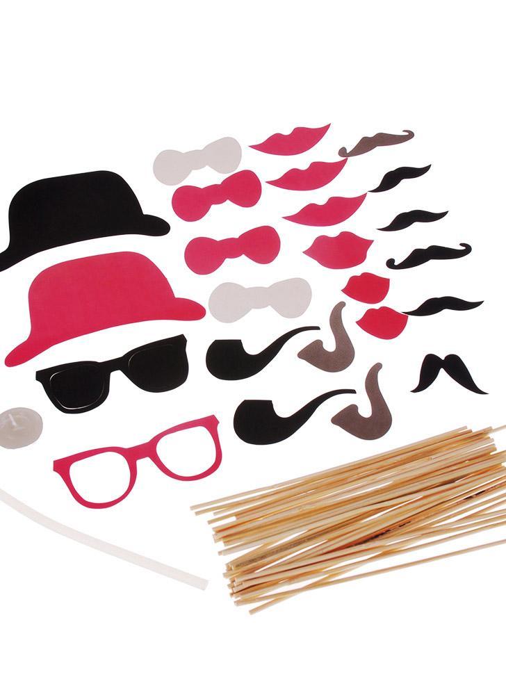 24St Foto Props Maske Set für Hochzeit Geburtstag Party Bart Hat Gläser Lippen Tobacco Pipe kreative Weihnachtsdekoration