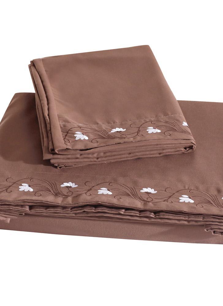 Komfortabler reiner Farbe mit besonderer Dekoration Lotus Stickerei Queen Set Facial & Hautpflege 100 % Polyester-Startseite Betten vier Stücke Flachfolien ausgestattet Blatt zwei Kissenbezüge