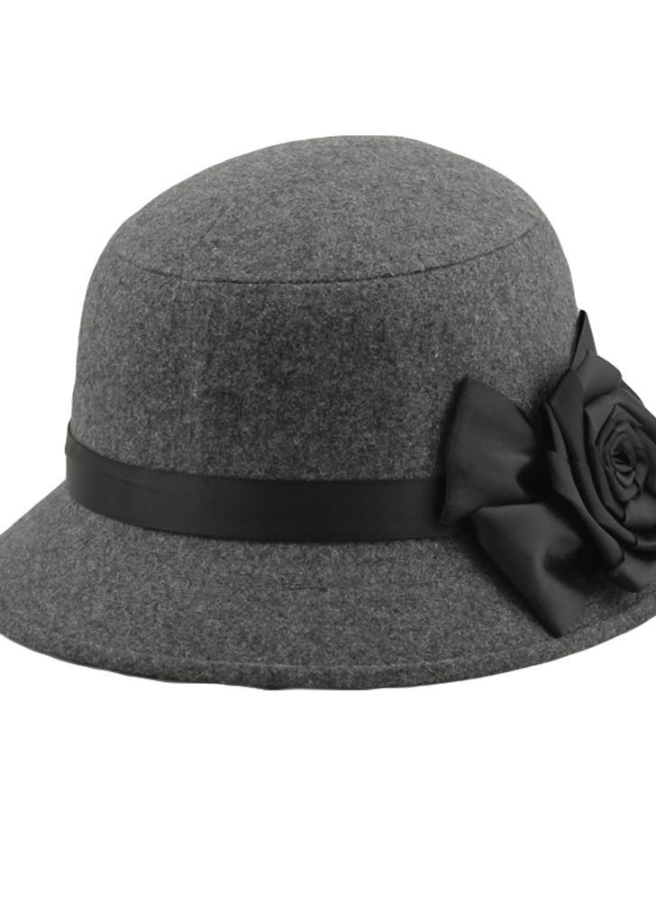 Moda donne eleganti signore Fedora Cloche fiore rosa secchio cappello  cappello grigio 4fd07438df34