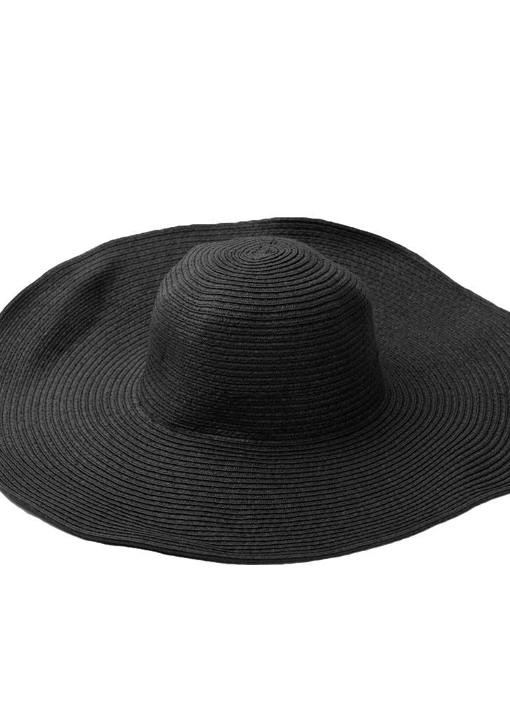 Moda linda mujer verano paja playa sombrero ala ancha grande plegable  sombrero negro 4819347edf44