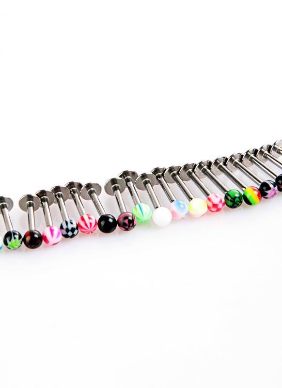 20pcs Colorful billes Anneaux Piercing Lèvres en acier inoxydable Anneaux Bars Labret Stud