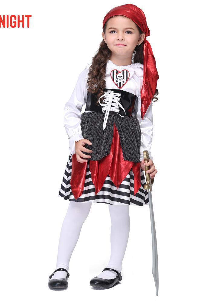 Festnight Cosplay Imaginons Jolie Seas Buccaneer Costume Pirate mignon Costumes pour enfants Costumes pour enfants Halloween