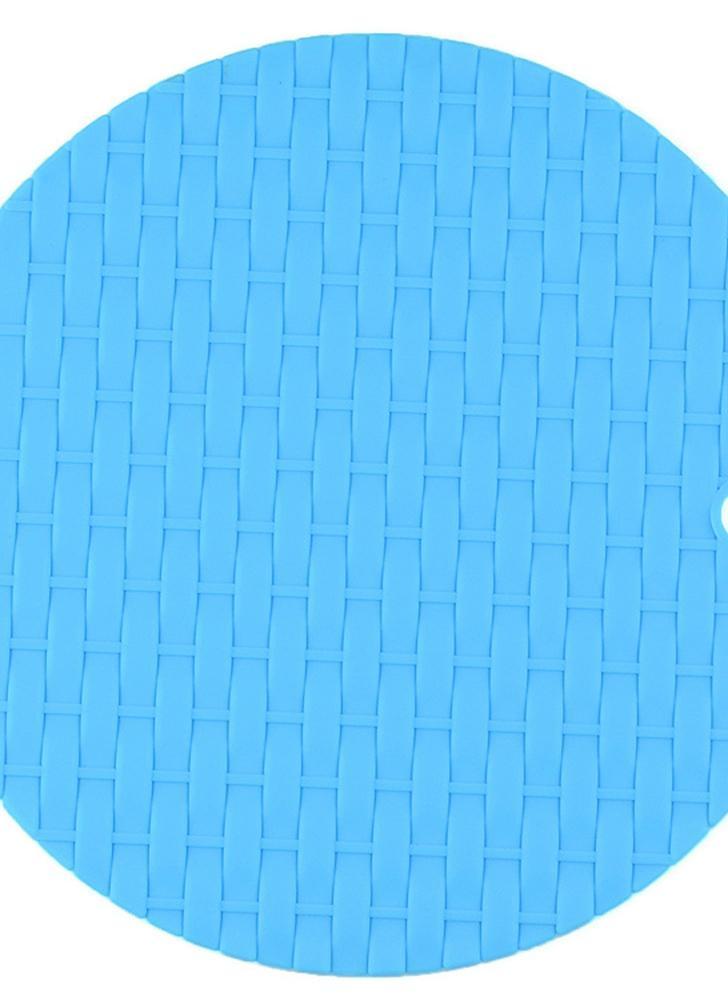 Coussin d'isolation circulaire tricoté Coussin multifonctionnel à base de silicone résistant à la chaleur Antidérapant Usure de la cuisine Anti-repassage Casserole Mat Tray Pad Orange