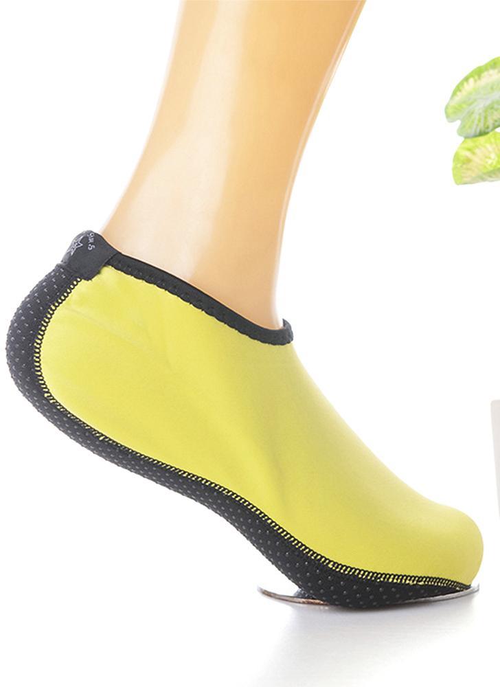 Nylon Neoprene Anti-skid Water Sports Socks Beach Snorkeling Diving Swimming Surfing Fin Auqa Socks for Women Men--L Size Yellow
