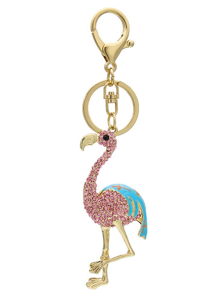 Flamingo lega di zinco strass portachiavi chiave lucente cava con clip gancio borsa borsa auto pendente ornamento Decor - rosa