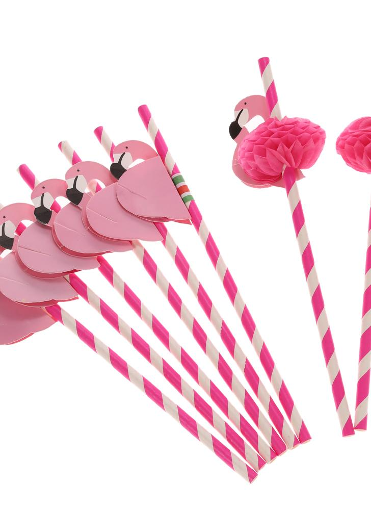 50pcs/set Cute Food Grade Paper Straws for Birthday Wedding Baby Shower Celebration and Party Multifunctional Straws with Flamingo Decorated