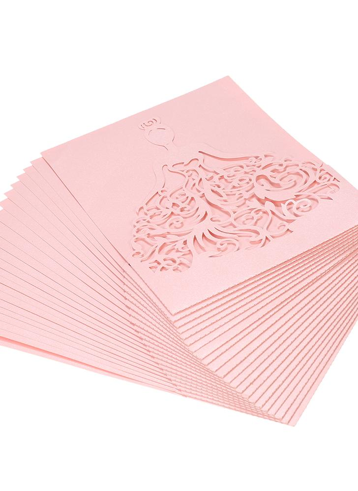 20pcs/set Wedding Invitation Cards Pearl Paper Laser Cut Hollow Bride Pattern Invitation Cards for Wedding Anniversary Engagement--White
