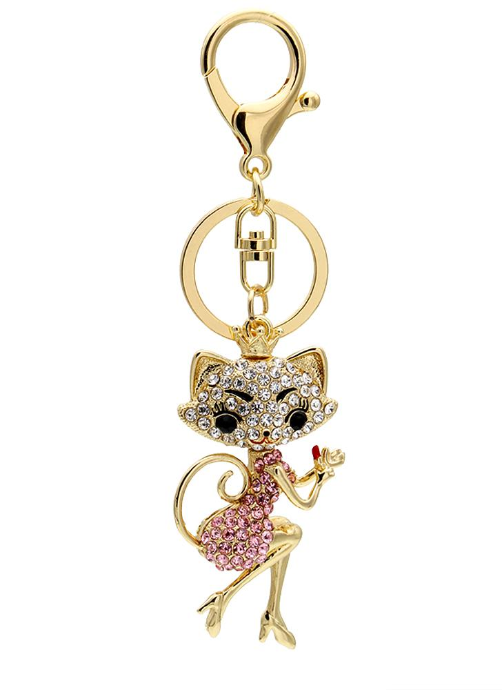Cartoon Cat Zinc Alloy Rhinestone Key Chain Hollow Shining Key Ring with Clip Hook Handbag Purse Car Pendant Ornament Decor--Pink